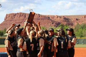 Members of the Temple College softball team celebrate after winning the 2018 NJCAA national tourn...
