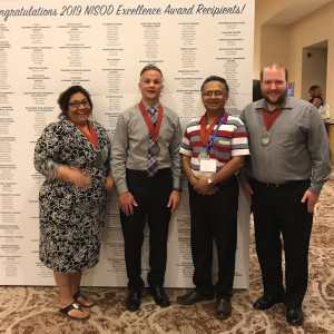 2019 NISOD award winners shown here are Angelita Ybarra, Brian Williams, Dr. Sudeep Majumdar and Nicholas Kocurek.